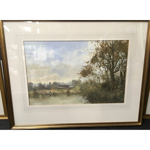 536 - A gilt framed watercolour of The River Avon Nr Fordingbridge, signed Roy Perry. 60 x 75 cms....