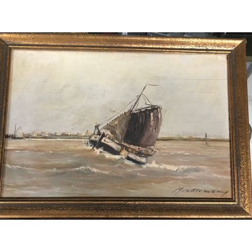 566 - 19th century oil on board: Sailing Barge - Scottish Island - Norderny - Nieve Paing. 13 x 9 inches....