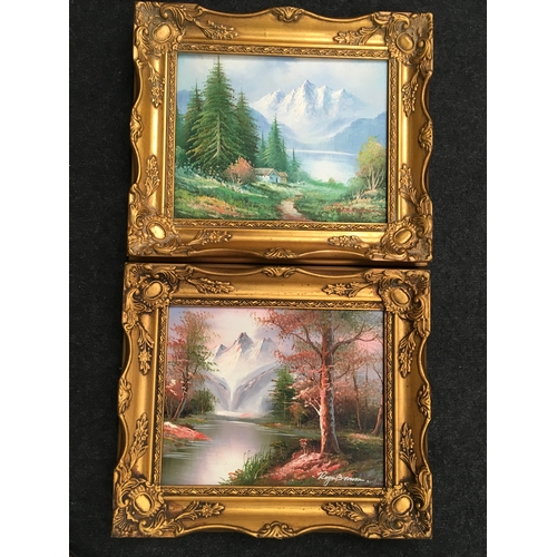 567 - Two gilt framed small oil on canvas....