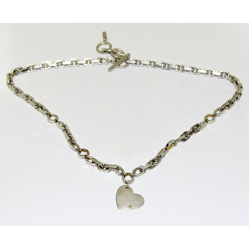 2201 - A genuine fully hallmarked 'Mont Blanc' silver heavy necklace set with a diamond....