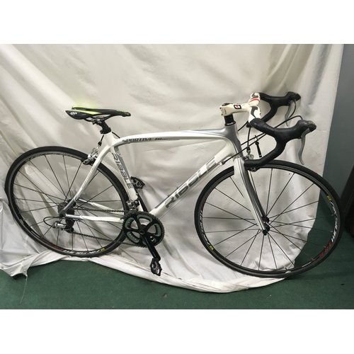 2152A - A Ribble Sportive Bianco carbon fibre road bike. Clipless pedals with carbon handlebar and saddle....
