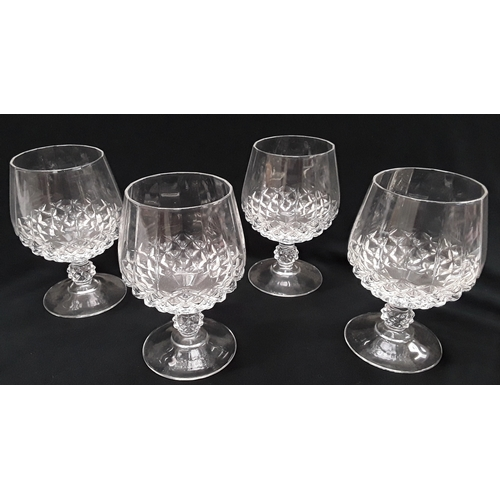 1033 - Crystal decanter with 4 brandy glasses on silver plated tray....