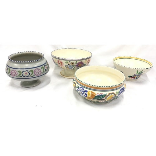 1047 - Poole Pottery Art Deco JK pattern footed bowl together with three other bowls (4)....