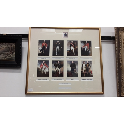 1059 - A framed and glazed collection of portraits of famous Duke's and Admirals....
