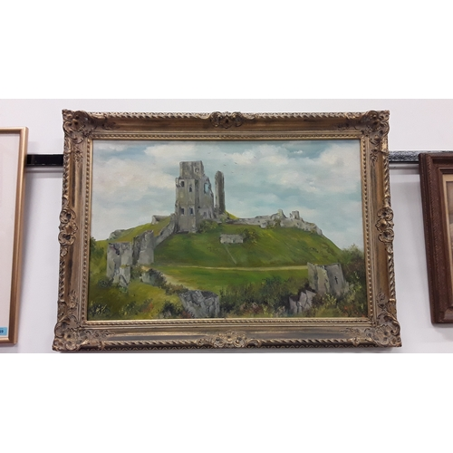 1060 - Local interest: framed oil on canvas of Corfe Castle. Signed M Goulding....