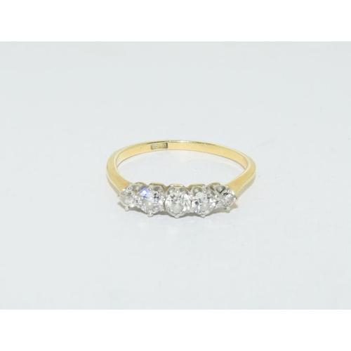 11 - 18ct gold ladies 5 stone diamond ring, size P....