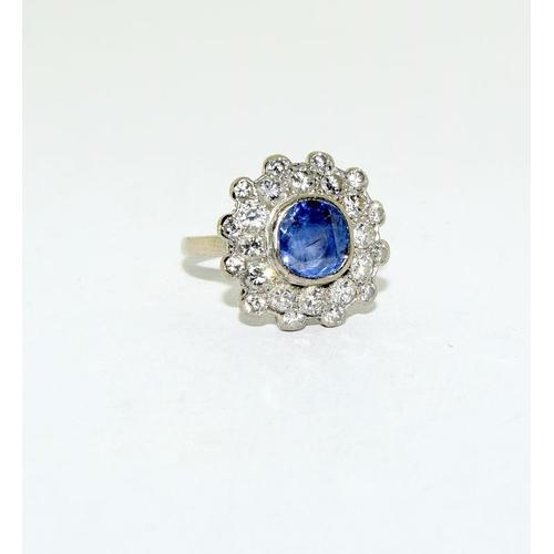 15 - 18ct white gold diamond sapphire daisy, approx 3ct diamond, size N....