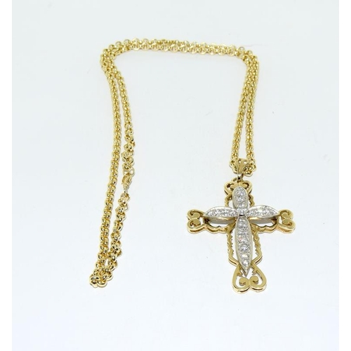 17 - 9ct gold cross and chain....