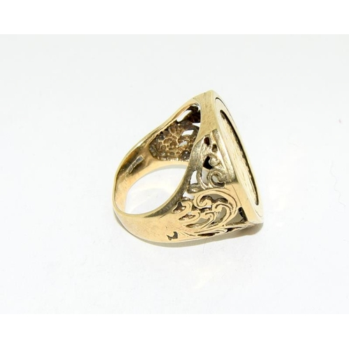 6 - Half sovereign ring set in 9ct gold, size Q....