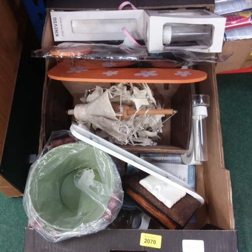 2020 - A box containing wooden trinket troughs, tin buckets and other assortments....