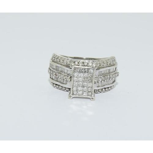 23 - 10ct white gold diamond ring, size L....
