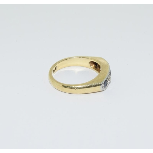 3 - 18ct gold and platinum ladies sapphire and diamond ring, size L....