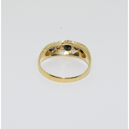 43 - 18ct gold antique set diamond and sapphire ring....