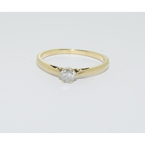 8 - 9ct gold ladies diamond solitaire ring, 0.25ct, size U....