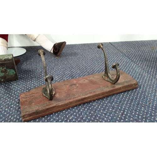 2045 - A vintage style coat rack with two hooks (182)....