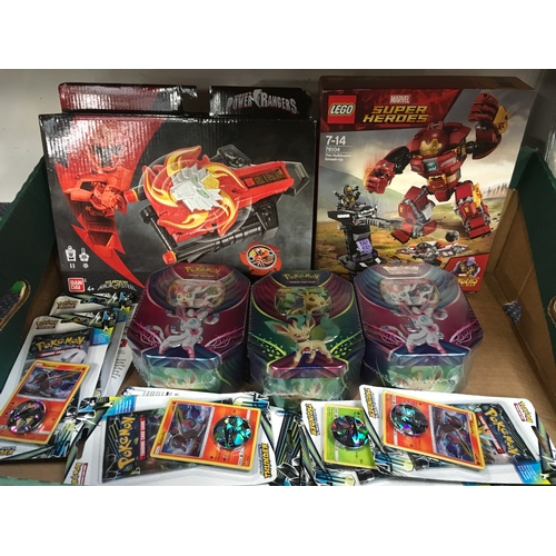 2017 - A Lego Hulkbuster set with a Power Rangers toy and Pokemon trading card games (REF:17)....