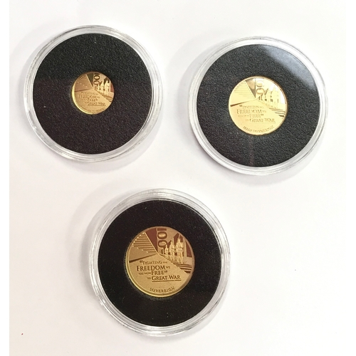 20 - Centenary of the end of World War 1, Gold Sovereign proof set: sovereign, half and quarter...