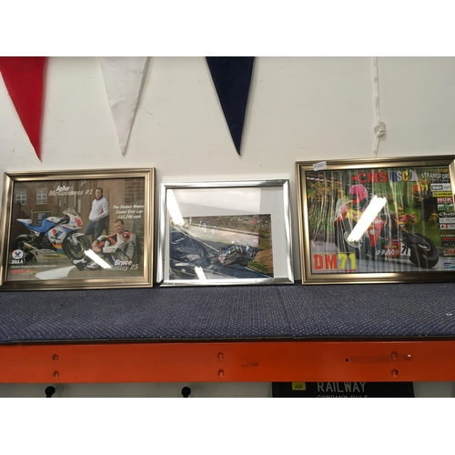 2042 - Three framed photos of motorcycle racers....