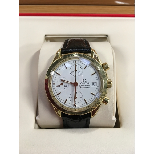 34 - Omega 18ct Speedmaster on leather strap with gold buckle....