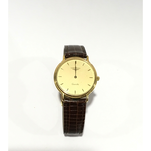 4 - Longines gents quartz watch with leather strap, box and papers....