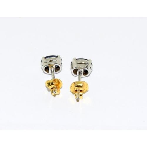 2 - Sapphire earrings, set in 18ct gold....