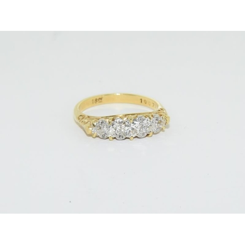 25 - 18ct gold ladies 5 stone diamond ring, approx 0.7ct, size M. (being sold on behalf of the RNLI)...