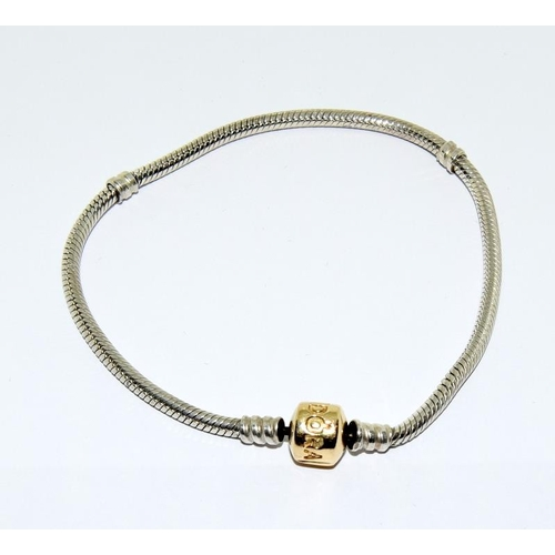 27 - Pandora silver bracelet with 14ct gold clasp - boxed....
