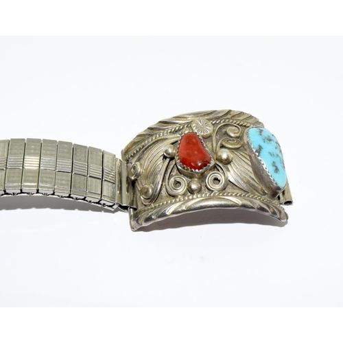 29 - Navajo sterling silver turquoise gents wristwatch bracelet by Gilbert Edeky....