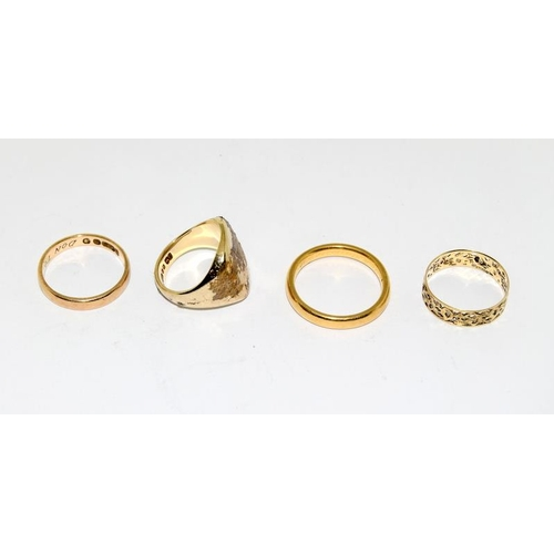 35 - 4 mixed gold rings. (being sold on behalf of the RNLI)...