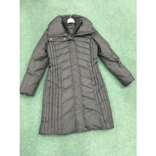 2314A - A woman's long black Marc jacket, size small (REF:126)....