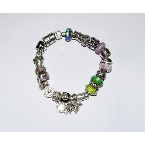 2132 - Chamilia charm bracelet with charms (REF:170)....