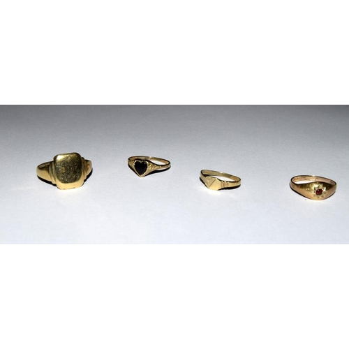 2136 - Four 9ct gold rings. Ref 5,27, 28, 177....