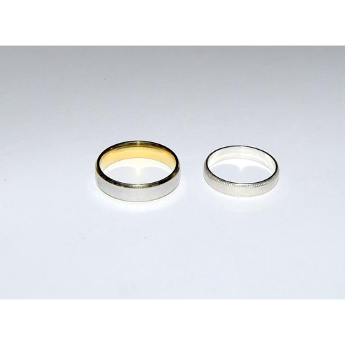 2138 - 9ct white gold wedding band together with another marked 18k. Ref 5, 74....