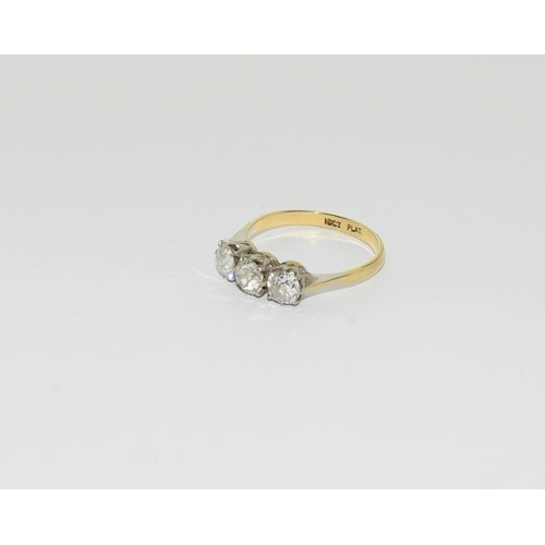 2150 - 18ct gold and platinum ladies old cut 3 stone diamond ring, approx 1ct. Ref 113....