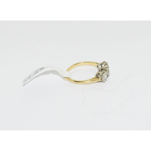 2158 - 18ct gold ladies 3 stone diamond ring. Retail £299. Approx 0.7ct. Ref 1....