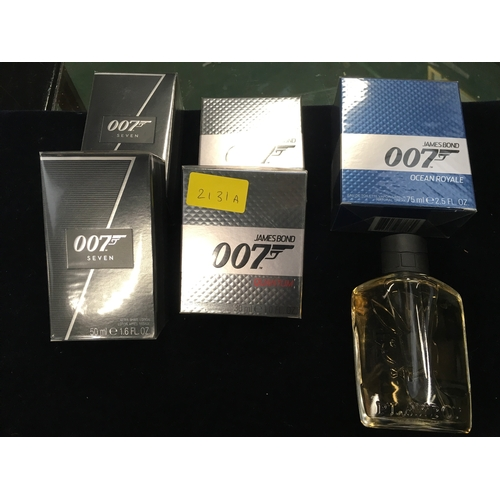2131A - A collection of fragrances including: two 007 Seven aftershave lotion, two 007 Quantum aftershave, o...