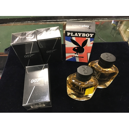 2151A - A collection of fragrances including: three 007 Seven aftershave lotion, Playboy eau de toilette and...