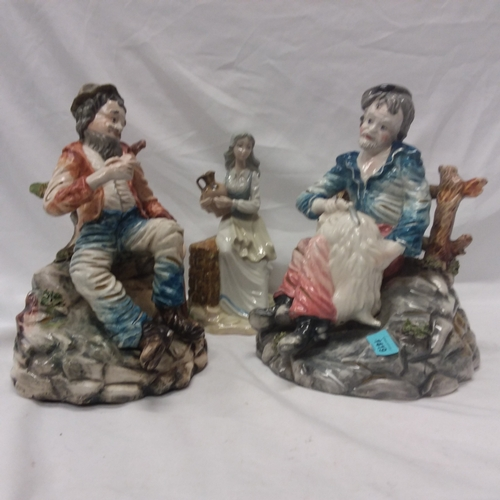1001 - A capodimonte figurine together with two others....