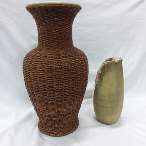 1005 - A large vase together with a small stoneware vase....