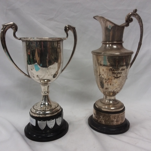 1007 - Two large silver plated trophies....