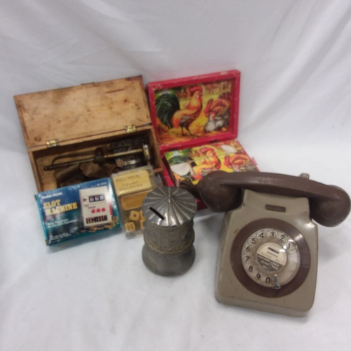 1009 - Mixed curios to include a vintage telephone, vintage toy puzzle, child's musical money box etc....