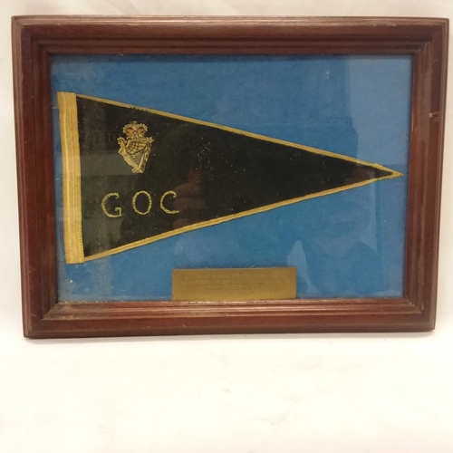 1012 - A vintage framed and glazed military flag presented to Lieutenant General Sir John Wilsey KCB CBE....