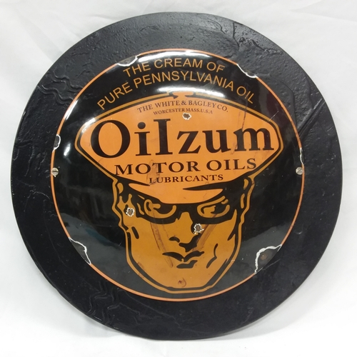 1016 - A wooden mounted enamel Oilzum sign....