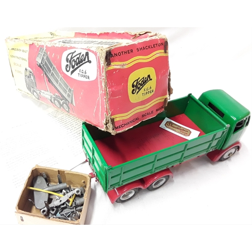 321 - Shackleton Foden FG6 Tipper Lorry - pea-green cab, wagon body, red flatbed, red wheel arches, silver...
