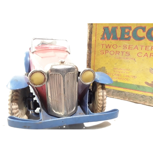 333 - Meccano - two seater Sports Car - red bodywork with blue wings and seats - plated radiator - lights ...