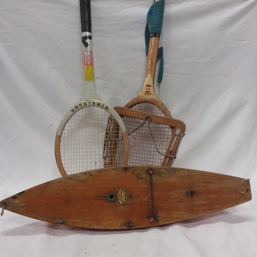 1036 - An Albatross pond yacht together with two vintage tennis rackets....