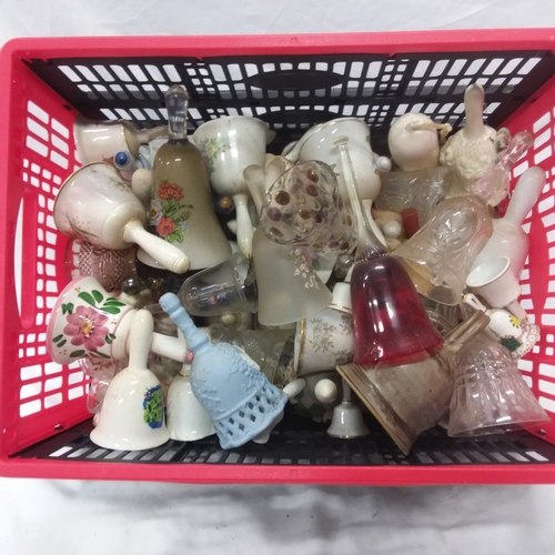 1043 - A large crate of various China and glass bells....