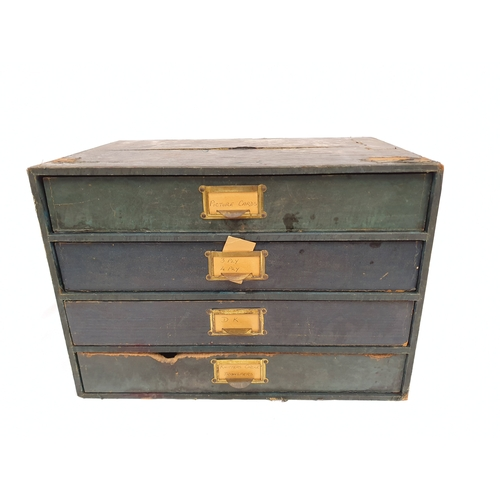 1040 - A vintage wooden document file box....
