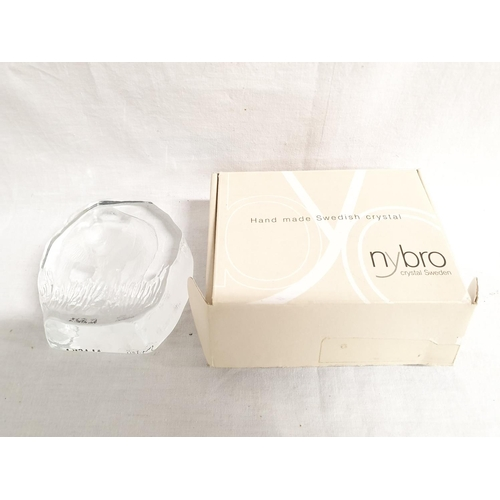 1201 - Two sets of large wine glasses boxed together with a modern Nybro Swedish paperweight of a bear....