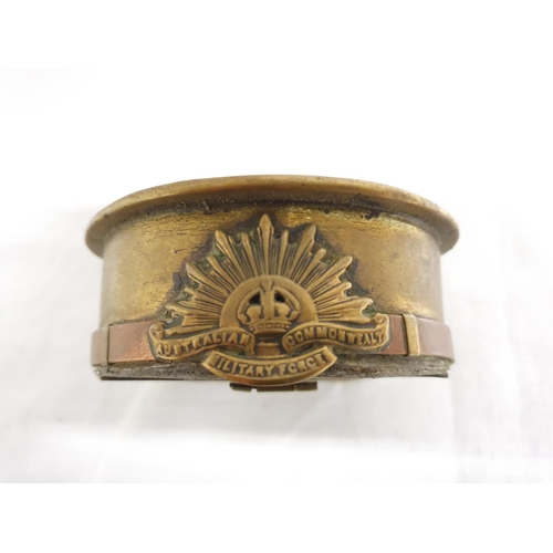 1203 - A WW1 era 1918 trench art ashtray....